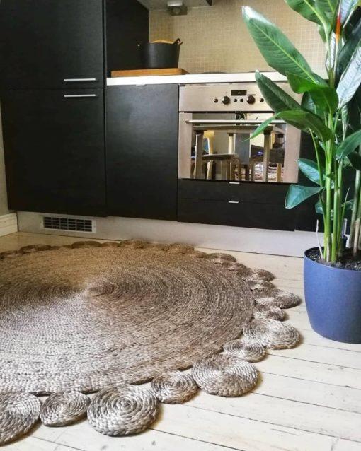 Juuttimatto pyöreä 150 cm Sisustusstudio Vitriini