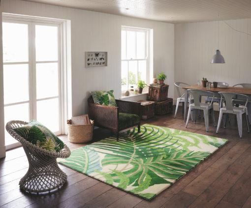 Kasviaihe matto villamatto peikonlehti palmunlehti olohuoneen Sisustusstudio Vitriini
