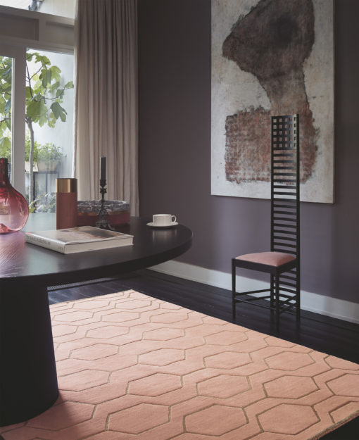 Roosa matto geomertinen paksu villamatto Harlequin Sisustusstudio Vitriini