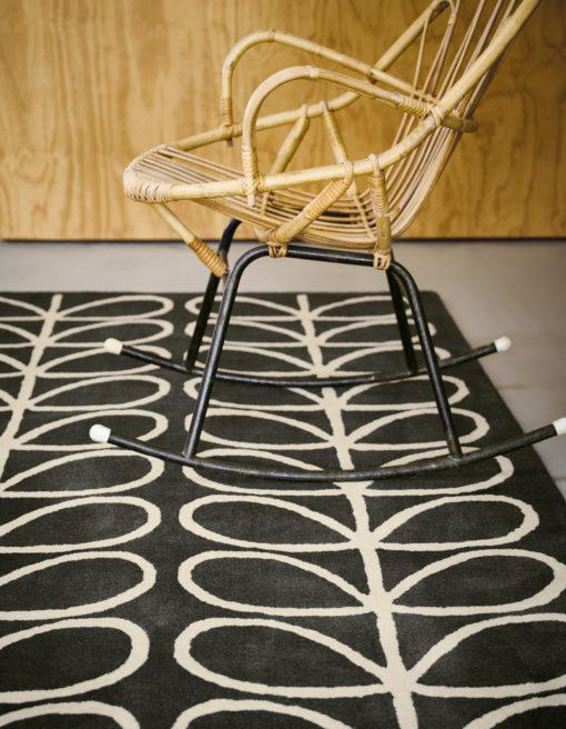 matto villamatto moderni mustavalkoinen retro lehtikuvio Vitriini