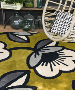 villamatto matto oliivi vihreä retro kukkakuvio kukkakuosi sisustusstudio vitriini